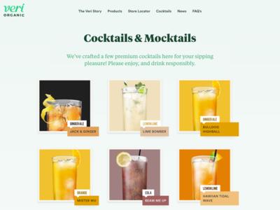 Veri Soda Cocktails & Mocktails design development homepage slider landing web liquid orange juice soda organic drinks
