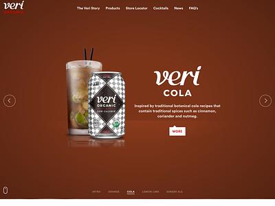Veri Soda Cola design development homepage slider landing web liquid orange juice soda organic drinks