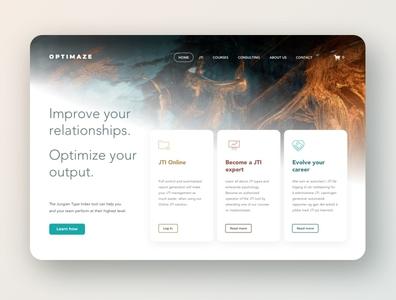 Homepage hero for Optimaze.