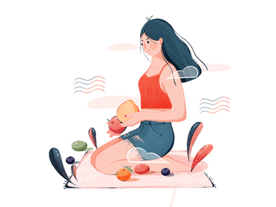 日常-吃水果(Daily life - eating fruit) illustrations lemons blueberries tomatoes grapefruit oranges blue pink girls