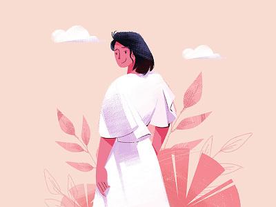 背面(Back) banner clouds white skirt clothes hand back app animation green girl animal ui tree design red illustration