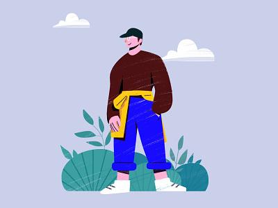 Brown clothes flat hat happy grass animation animal tree mojobees designer instagram illustrations illustration design