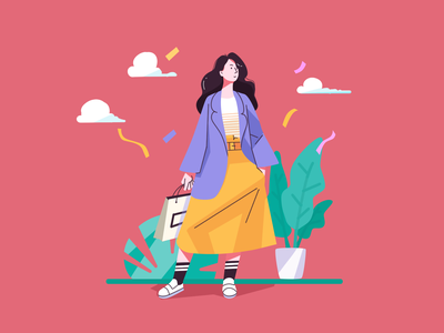 Shopping trees leaf protect environmental girl cool fashion shopping app logo ux ui design red illustration