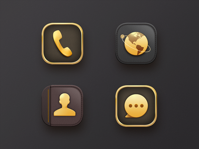 icon3 notepad planet contacts browser message phone yellow nice advanced gold vector app illustration design ui ux
