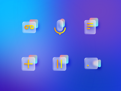 Icon-Glass light acrylic call hold yellow glass add recorder video red logo phone icon tree app ui ux design