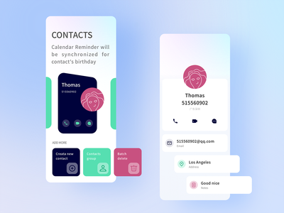 My Contacts summer effacts green planet add delete phone flow blue card people pepol contacts picture icon red app ux design