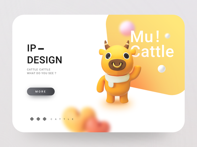 ip-cattle mascots horns eyes nose cute small animals pets animal ip 3d yellow mu cull cattle c4d app ux ui design illustration