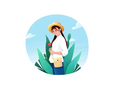 小芳菇凉(Girl Xiaofang) green color tone composition bag flower hat leaf sky girl illustration