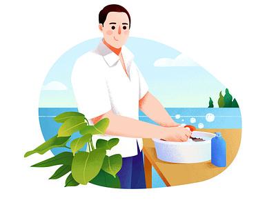 洗衣服(Wash clothes) labor clothes shop office plants plants green baskets commercial illustrations green tones basins clothes illustration