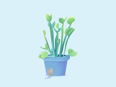 巨夹捕蝇草 giant fence flowerpot blue composition pot picking flies illustration