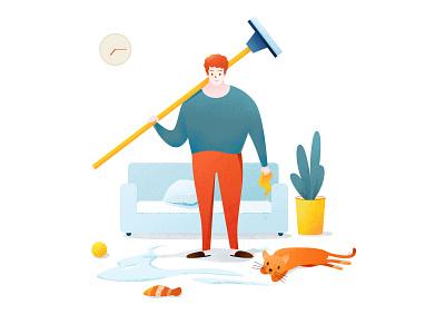 打扫卫生和猫(Clean and Cat) room velvet towel water cat sofa broom environmental protection health vector animal clean red illustration