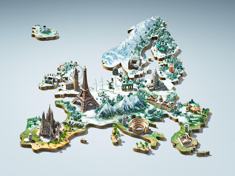 Bite europe 3d map key visual winter dribbble