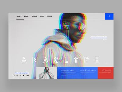 Anaglyph Web Ui Design fashion photography ux design ui design ux ui graphic design web development web designer web design