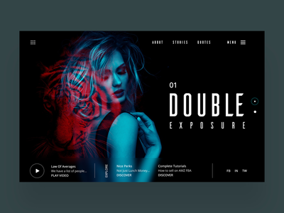 Double Exposure Web Ui Design Concept digital artist photography web designer ux ui ux design ui design graphic design web design