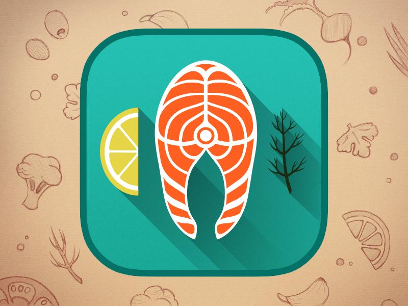What I Eat: Icon Redesign icon application ios ios7 iphone fish salmon lemon dill
