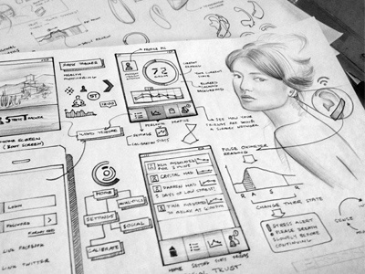 Biosensor UI ui design paper wireframe sketch app ideation process