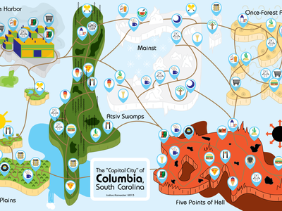 Columbia Welcome Map map columbia south carolina illustration icons restaurant burger mexican records coffee beer ice cream