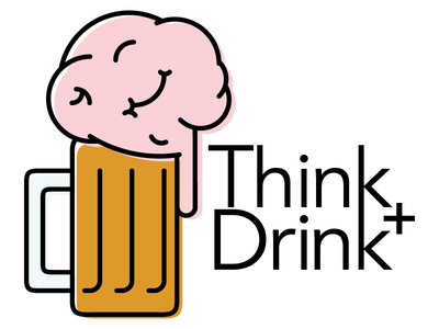 Think + Drink (Unused) logo beer mark brain drink bar trivia questions think