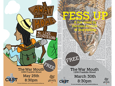 CAST Event Posters 1 & 2 microphone hitchhiker war mouth fish poster