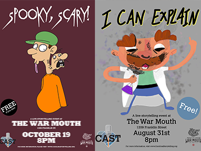 CAST Event Posters 3 & 4 cartoon podcast poster storytelling south carolina
