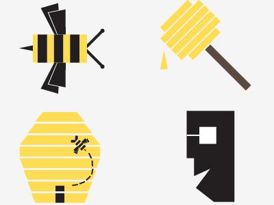 KD Bees (WIP) illustration branding logo label