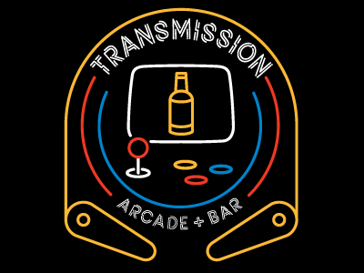 Transmission Arcade Logo south carolina columbia joystick pinball arcade logo mark bar branding