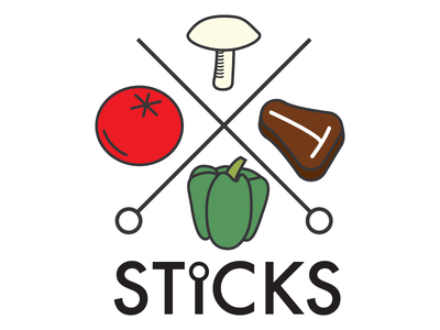 Sticks logo branding illustrator restaurant