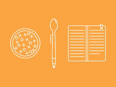 Cereal Work illustration outline simple spoon bowl journal