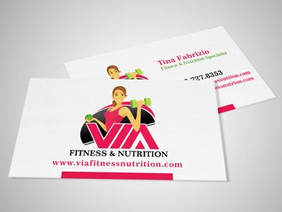 Via Fitness Business Cards business cards logo design graphic design illustration