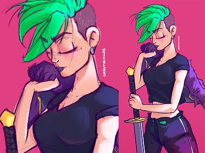 Girl with sword sword sketch girl digital-art draw illustration