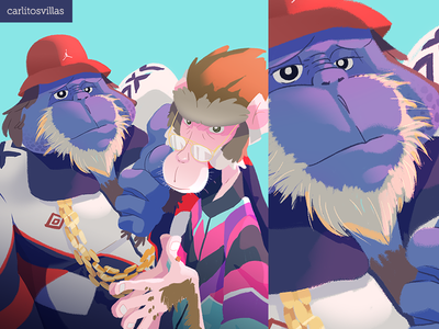 90s Monkey style draw jordan vintage rap snow monkey macaque 90s monkey illustration