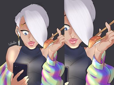 Girl on phone phone sushi girl tornasol