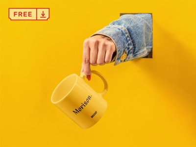 Free Cup with Hand Mockup freebie cup design illustration mockups logo template identity mockup psd free download