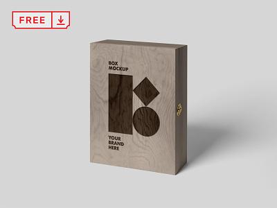 Free Wood Box Mockup identity font logo freebie wood box design illustration typography mockup psd free download