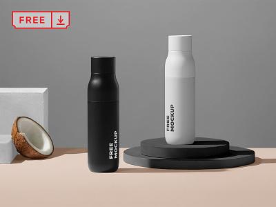 Free Bottle Mockup icon typography logo font design identity branding mockup bottles psd free download