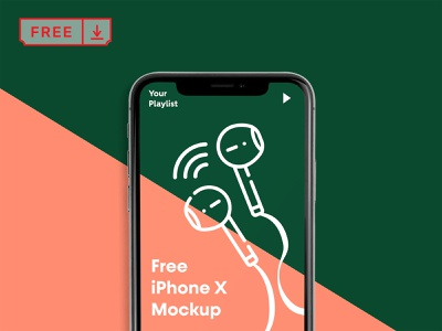 Free iPhone X PSD Mockup logo typography design illustration template iphone x iphone mockup psd free download