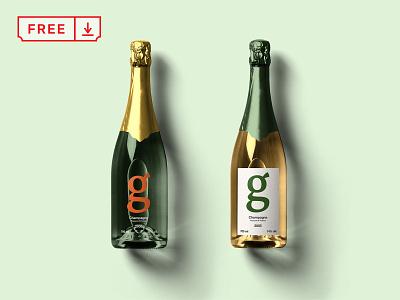Free Champagne Bottle Mockup label font bottle print logo typography identity mockups psd download free