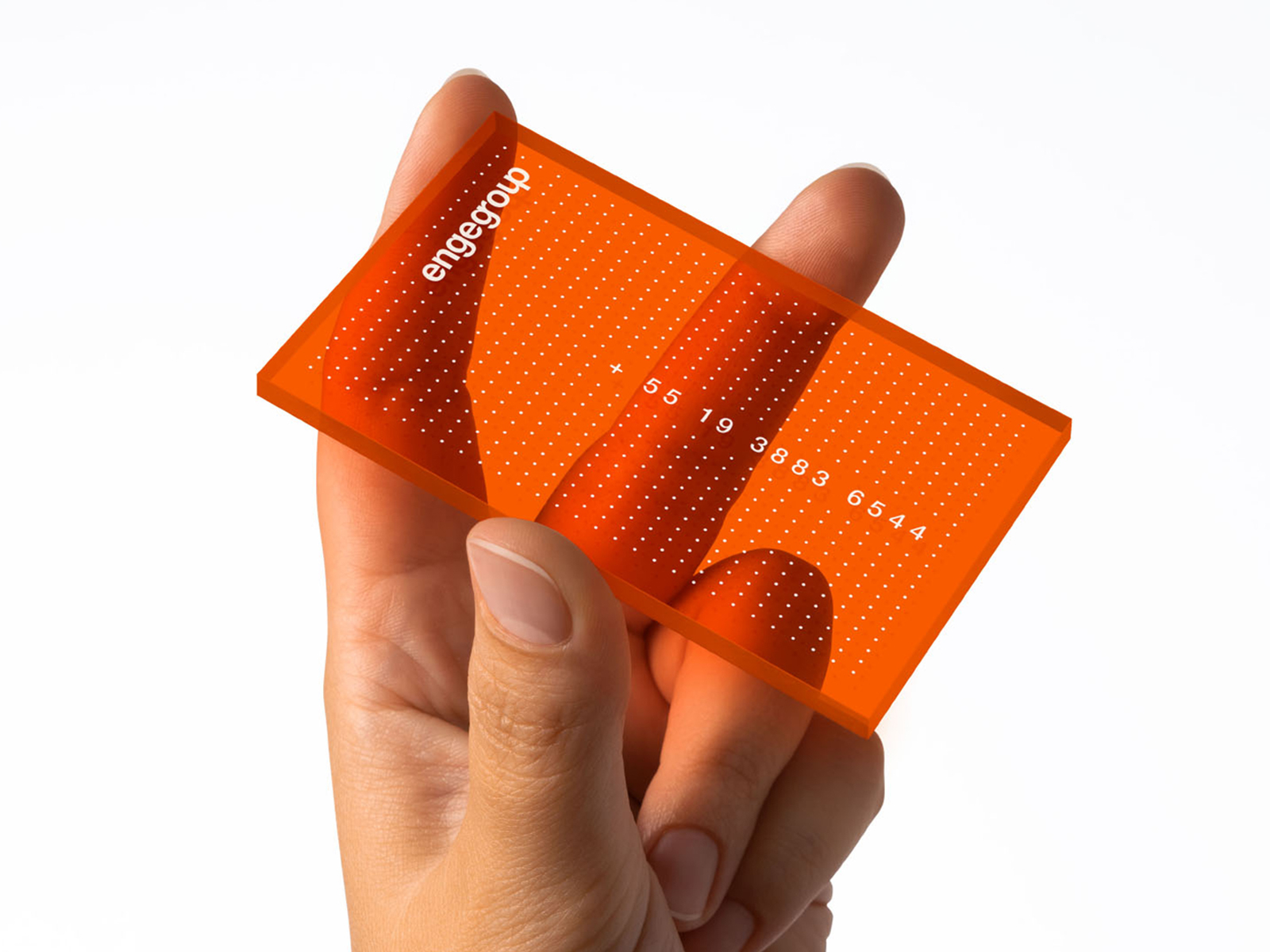 orange translucent business card with opaque white text, numbers and a dotted pattern