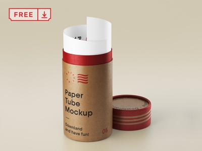 Free  Open Paper Tube Mockup freebie branding design illustration print logo identity mockup psd free download