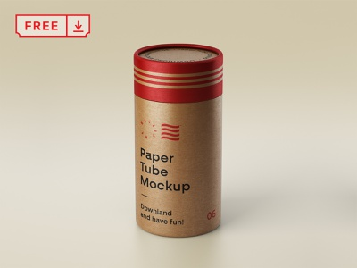 Free Paper Tube Mockup logo branding print design illustration tube paper identity mockup psd free download