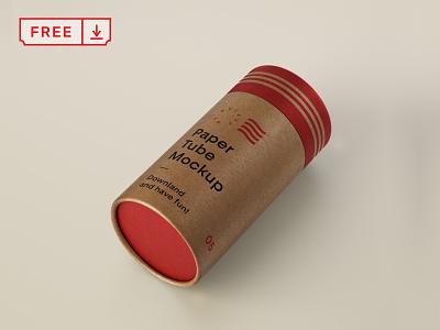 Free Cardboard Tube Mockup cardboard typography illustration print logo branding mockup psd free download tube