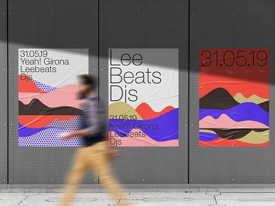 Glued Poster Mockups Premade Scene template bundle mockups font wall glued poster design print illustration psd download