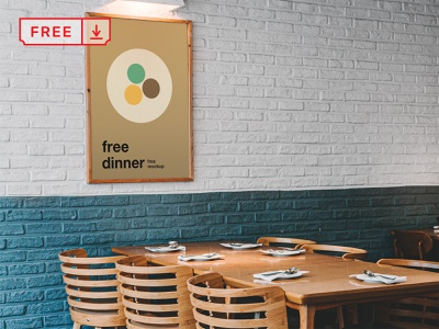 Free Poster in Restaurant Mockup restaurant poster mockups typography branding identity logo print design illustration psd free download