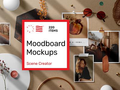 Moodboard Mockups branding identity logotype font icon mockup illustration typography photography moodboard bundle design mockups print logo template psd download