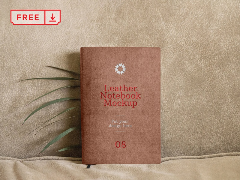 Free Leather Notebook Mockup mockup design font print notebook typography branding identity psd free download