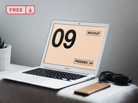 MacBook Air on Table Mockup font identity mockups template design stationery macbook macbook air webdesign psd free download