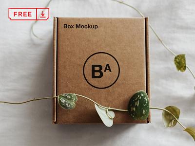 Free Craft Paper Box Mockup craft paper mockup illustration mockups print logo identity branding box paper psd free download