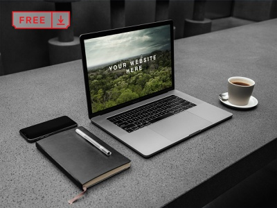 Free MacBook Pro Workspace PSD Mockup stationery logo mockups identity design template workspace macbook pro macbook psd freebie free download