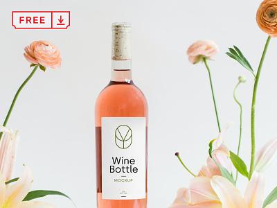 Free Wine Bottle PSD Mockup template logo design illustration identity branding wine bottle wine free download