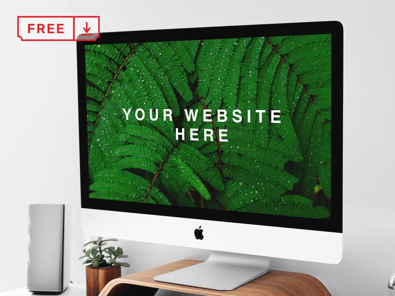 Free iMac on Stand PSD Mockup logo mockup mockups stationery identity design webdesign template psd free imac download
